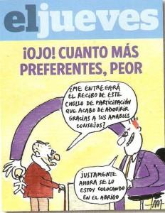 Caricatura de El Jueves sobre las acciones preferentes gran estafa de los bancos a los españoles